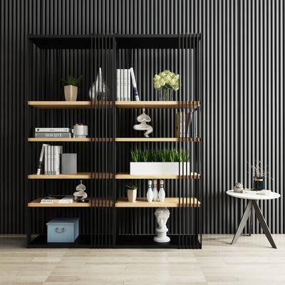 现代, 装饰架, 书柜, 摆件, 边几