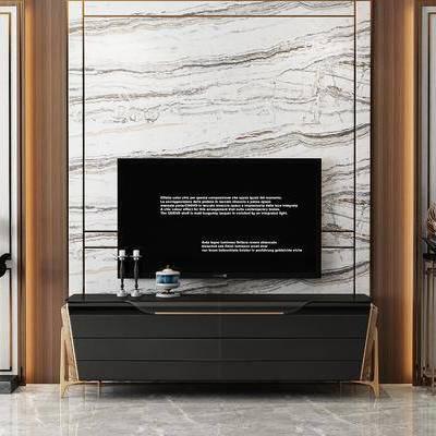 后现代电视柜装饰, 后现代, 电视柜, 天鹅摆件