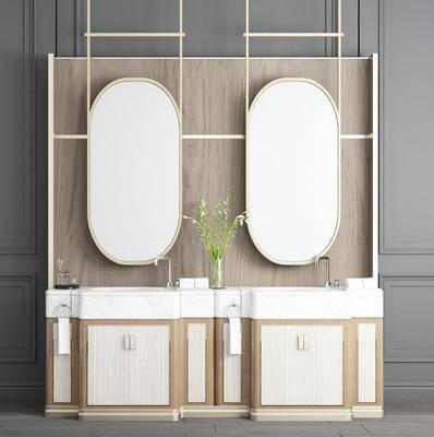 洗手台, 浴室柜, 装饰镜, 现代