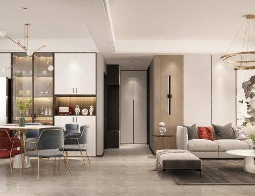 現代客廳, 客廳, 餐廳, 沙發組合, 餐桌椅