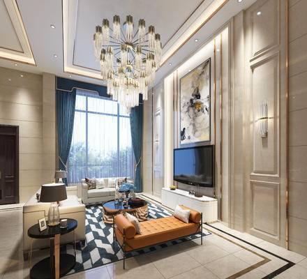 客厅, 沙发组合, 沙发茶几组合, 吊灯, 装饰画, 电视柜