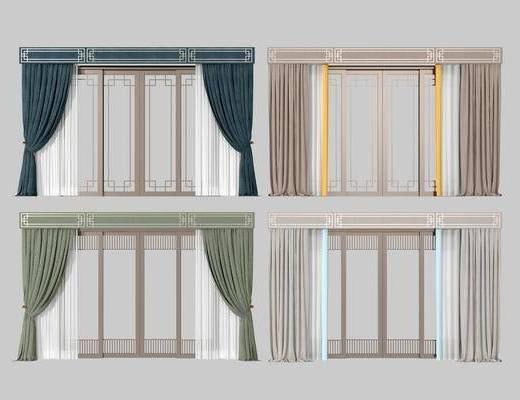 推拉门组, 窗帘组合, 新中式