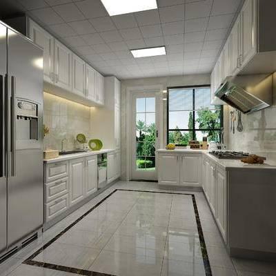 现代, 厨房, 橱柜, 洗手盆, 书房, 书桌, 椅子, 沙发, 置物柜, 书籍, 盆栽