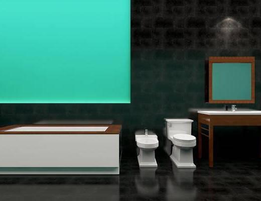 卫浴洁具, 卫浴组合, 马桶, 洗手台, 现代