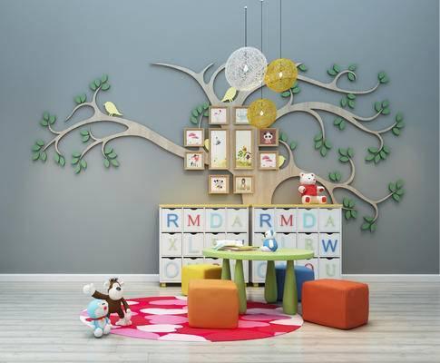 儿童桌椅, 玩具, 灯具, 柜子, 墙饰