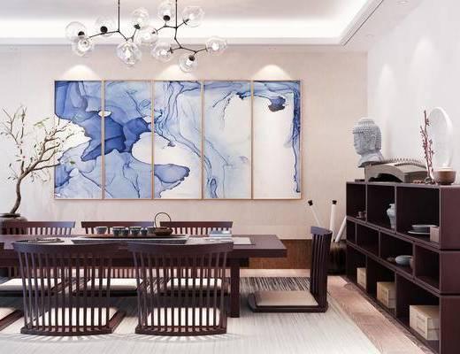 新中式, 茶室, 桌椅组合, 吊灯, 置物柜