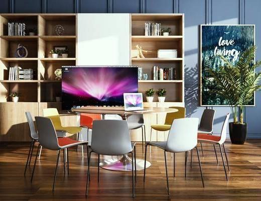 办公桌, 桌椅组合, 书柜, 书籍, 电视, 盆栽植物