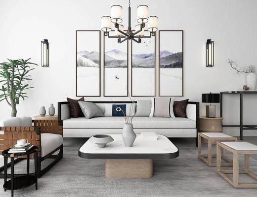 沙发组合, 新中式沙发组合, 茶几, 吊灯, 摆件组合