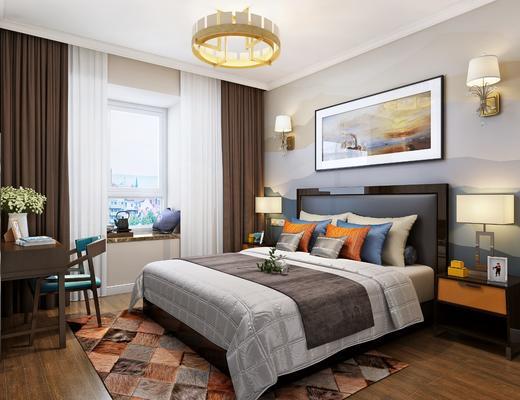 现代卧室, 双人床, 床头柜, 书桌椅, 飘窗, 挂画, 壁灯, 台灯, 吊灯
