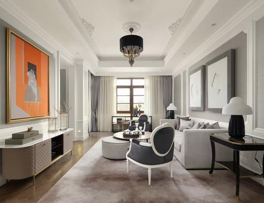 欧式简约, 沙发茶几组合, 吊灯, 电视柜, 沙发椅