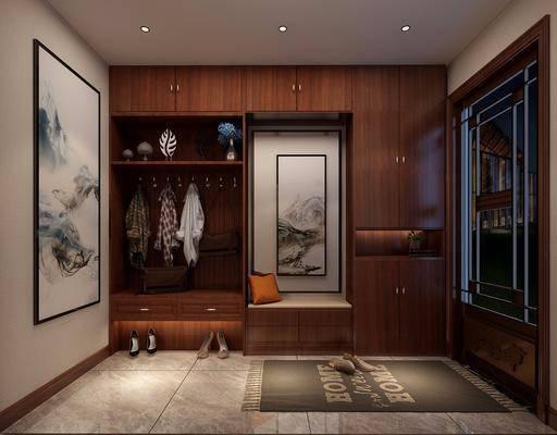 中式鞋柜, 中式玄关, 鞋子, 挂画