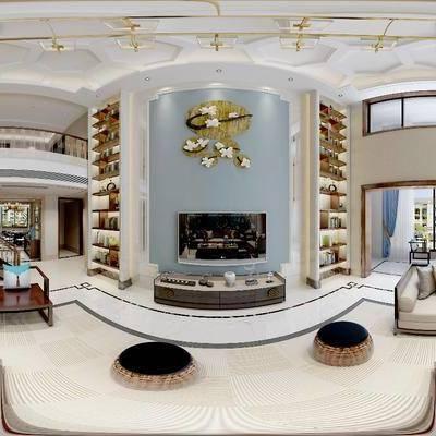 新中式别墅, 新中式, 全景模型, 新中式沙发组合, 电视柜, 客厅, 新中式客厅, 楼梯