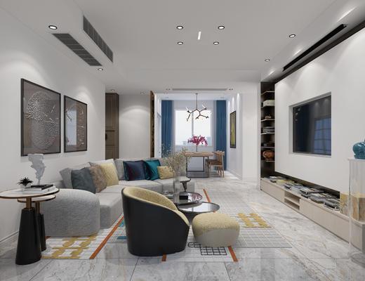 客厅, 现代客厅, 现代沙发, 沙发组合, 沙发茶几组合, 多人沙发