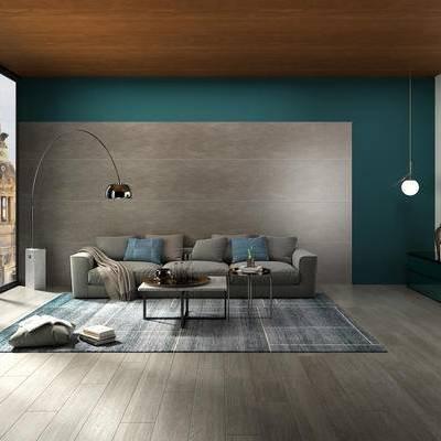 现代客厅, 沙发组合, 沙发茶几组合, 落地灯, 现代沙发, 吊灯