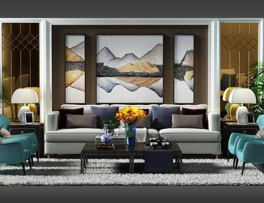 沙发背景墙, 背景墙, 沙发椅, 椅子, 地毯, 盆景, 植物, 装饰画, 现代
