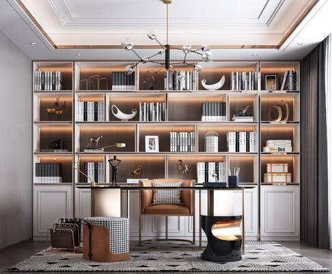 书桌, 书架, 桌椅组合, 吊灯, 书柜, 书籍
