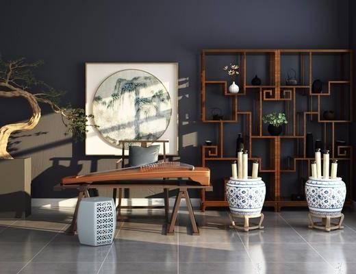 博古架, 装饰架, 古琴, 盆栽, 绿植植物, 风景画, 单人椅, 凳子, 花瓶, 摆件, 装饰品, 陈设品, 中式