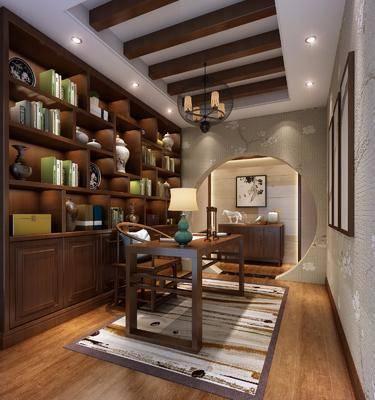 书房, 书桌, 装饰柜, 书籍, 摆件, 台灯, 吊灯, 边柜, 装饰画, 挂画, 装饰品, 陈设品, 中式