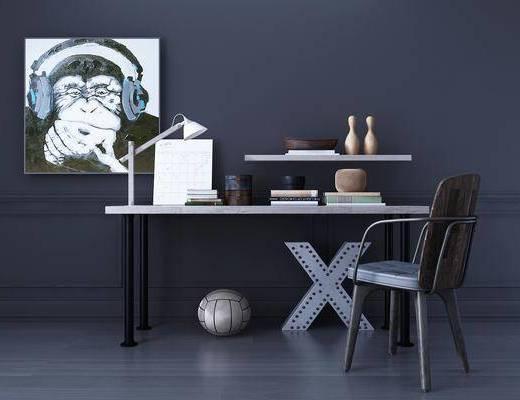 桌子, 单人椅, 摆件, 装饰画, 台灯, 工业风