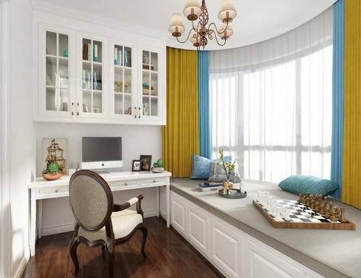 书房, 书桌椅, 书桌, 单人椅, 装饰柜, 吊灯, 榻榻米, 摆件, 装饰品, 美式