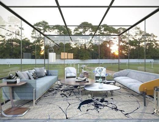 现代, 庭院, 阳光房