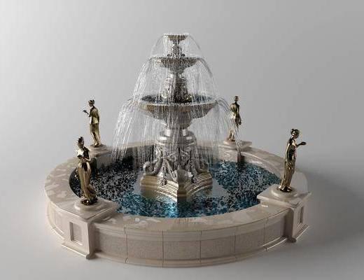 噴泉, 水池