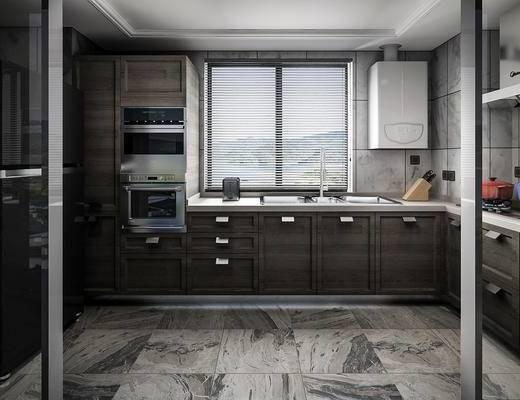 现代厨房, 厨房, 刀具, 洗手盆, 烤箱, 橱柜