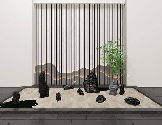 景观园林, 植物, 假山, 新中式园林景观, 石头, 新中式