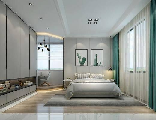 卧室, 北欧卧室, 床具组合, 双人床, 挂画, 衣柜, 摆件组合, 单椅, 北欧