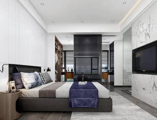 卧室, 床, 床头柜, 壁灯, 衣帽间, 衣服, 电脑, 休闲椅, 相框, 书, 香水, 现代卧室
