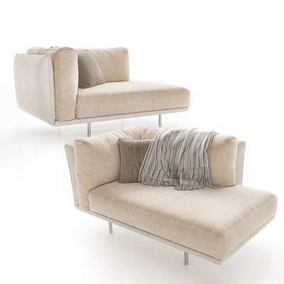 贵妃椅, 多人沙发, 布艺, 现代