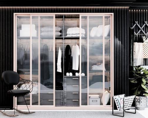 现代衣柜, 衣服, 现代单椅, 现代盆栽