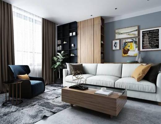 沙发, 沙发组合, 茶几, 装饰画, 布艺沙发, 装饰柜, 椅子, 现代