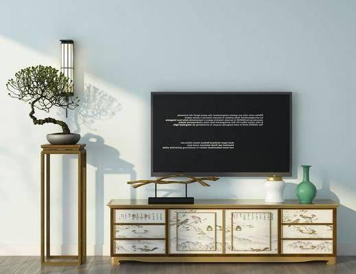 电视柜, 装饰架, 盆栽, 壁灯, 装饰品, 陈设品, 中式