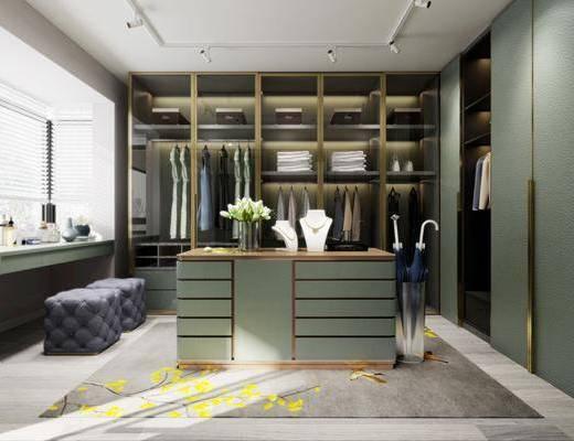 衣帽间, 现代衣帽间, 衣柜, 衣服, 中岛柜, 花瓶花卉, 沙发凳, 现代
