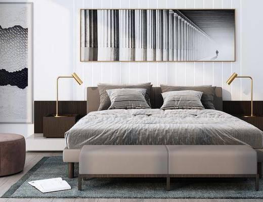 现代, 卧室, 双人床, 床尾凳, 沙发凳, 台灯, 地毯
