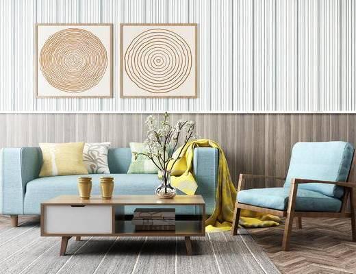 现代北欧沙发椅子, 挂画, 茶几, 装饰盆栽摆件, 北欧