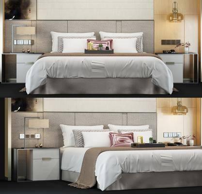双人床, 台灯, 壁灯, 边几, 座机, 枕头, 杯子, 边柜, 现代