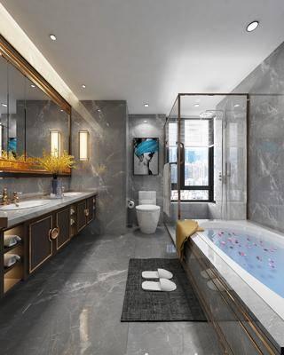 卫生间, 浴室, 浴缸, 洗手台, 装饰镜, 马桶, 装饰画, 挂画, 花洒壁灯, 新中式