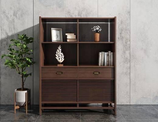 实木书柜, 装饰柜, 博古架, 书籍, 摆件, 盆栽, 装饰品, 陈设品, 新中式