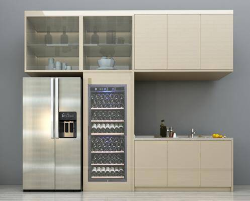 酒柜, 冰箱, 摆件, 装饰品, 现代