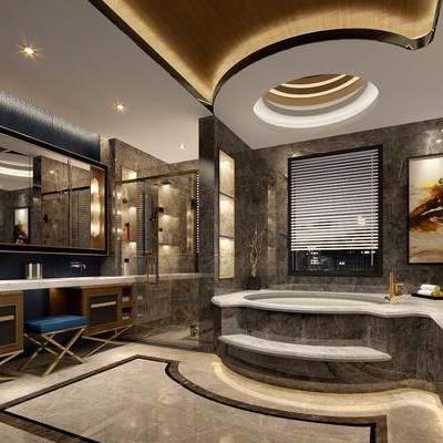 新古典别墅卫生间, 卫生间, 浴池, 洗手台, 凳子, 镜子