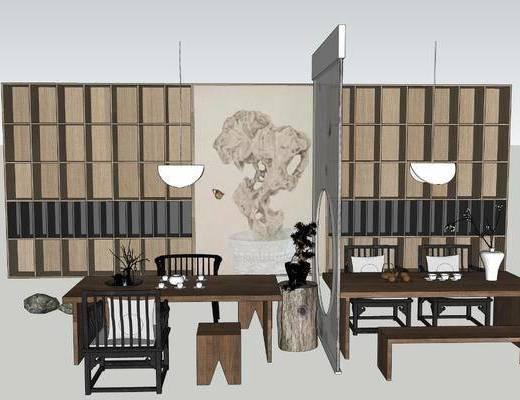 茶桌, 茶具组合, 吊灯, 屏风, 端景台