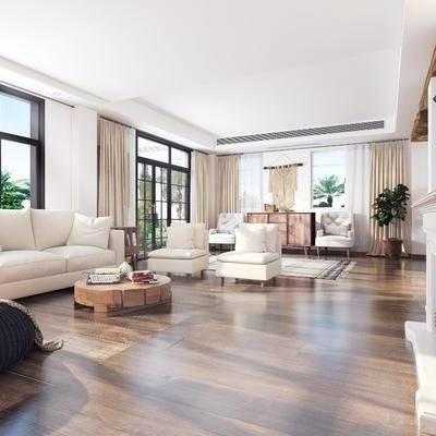 客厅, 餐厅, 美式客厅, 厨房, 沙发组合, 多人沙发