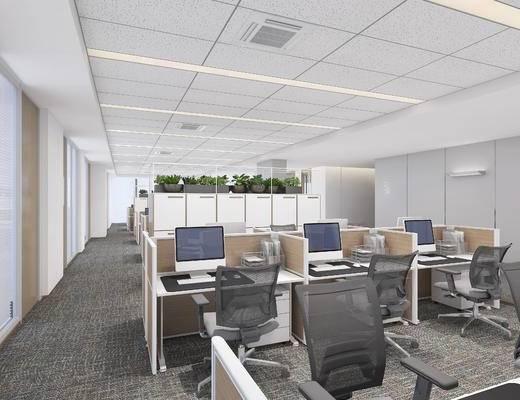 现代, 办公室, 工装, 敞开式, 3d模型