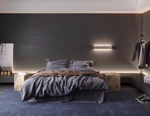 卧室, 双人床, 衣架, 服饰, 装饰画, 挂画, 壁灯, 现代