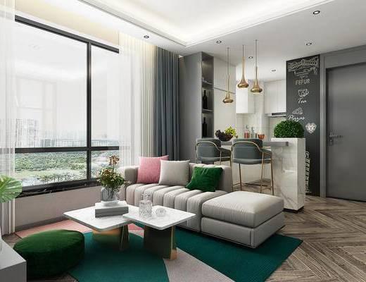 沙发组合, 茶几, 电视柜, 窗帘, 吧台, 吧椅