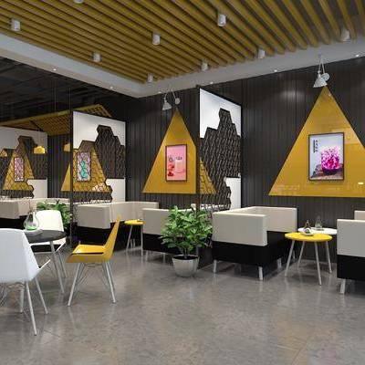奶茶店, 展示柜, 吧台, 多人沙发, 布艺沙发, 茶几, 装饰品, 摆件, 绿植, 工业风