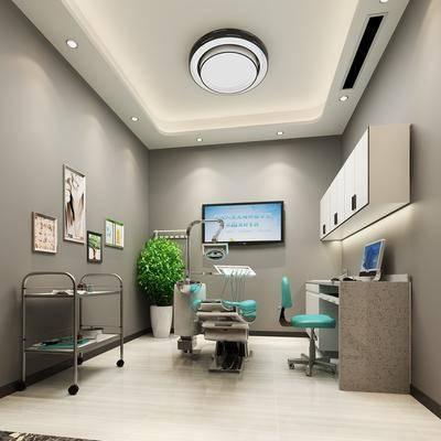 牙科诊室, 医院, 牙?#29942;?#33108;, 书桌, 单人椅, 盆栽, 绿植植物, 组合画, 吊灯, 现代