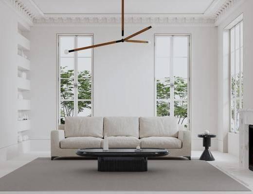 沙发组合, 壁炉, 异形吊灯